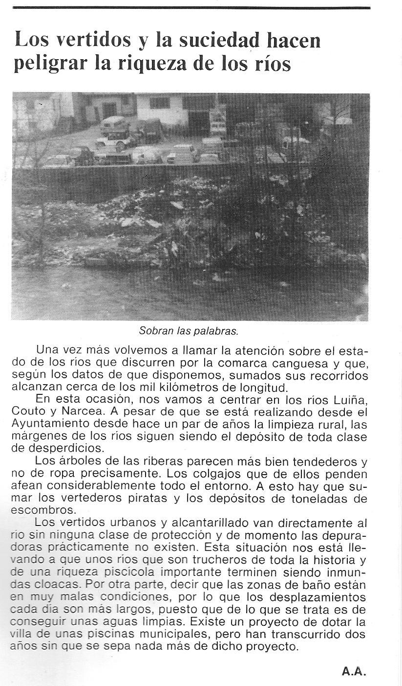 Preocupación por el estado de suciedad del río Narcea a su paso por la villa de Cangas en 1989.