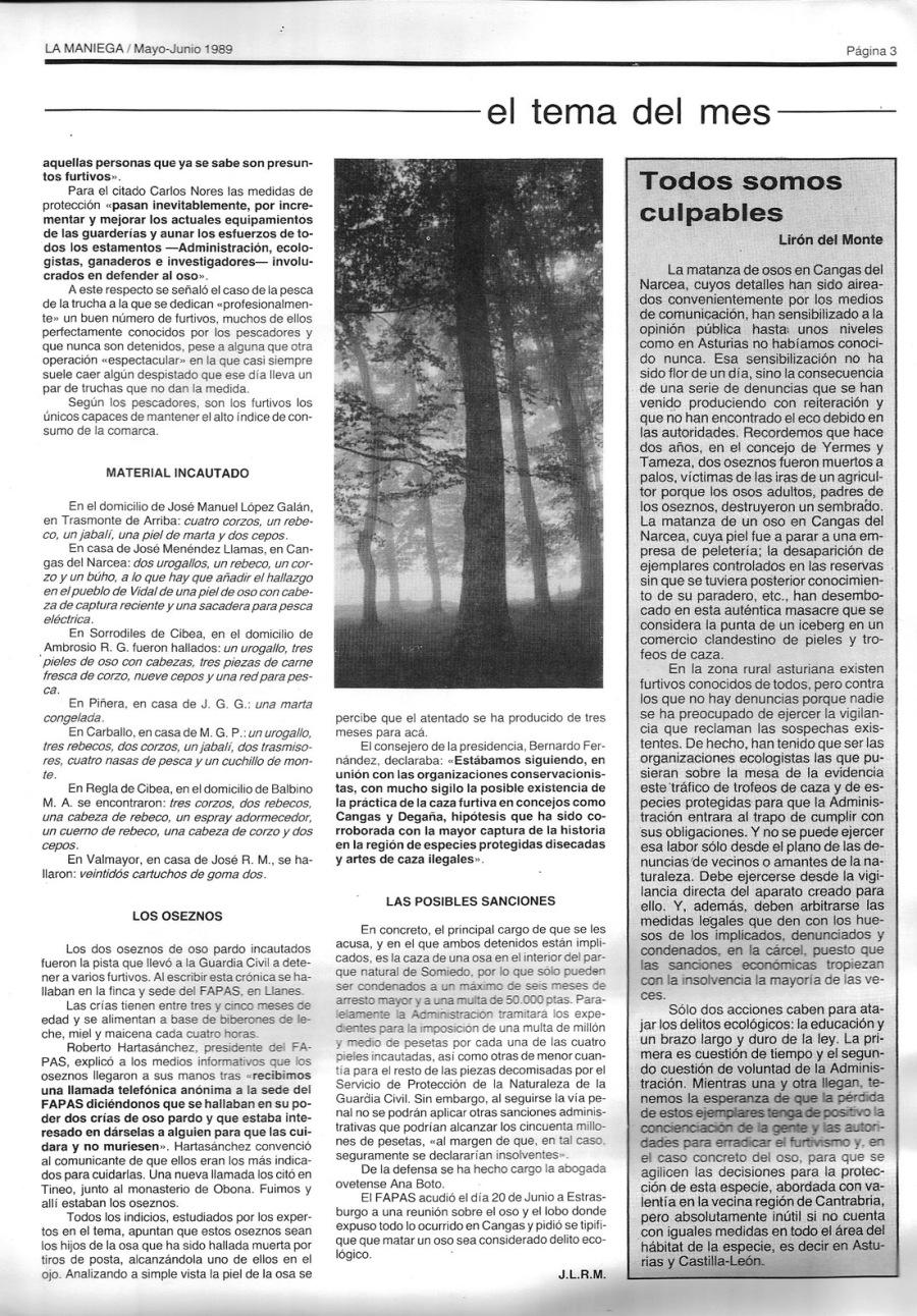 El furtivismo de especies como oso y urogallo fue generalizado hasta principios de los 90.