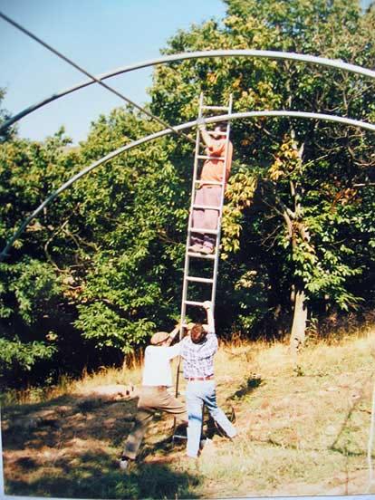 Montaje del invernadero del GECA en las instalaciones del Vivero Forestal. 1993.
