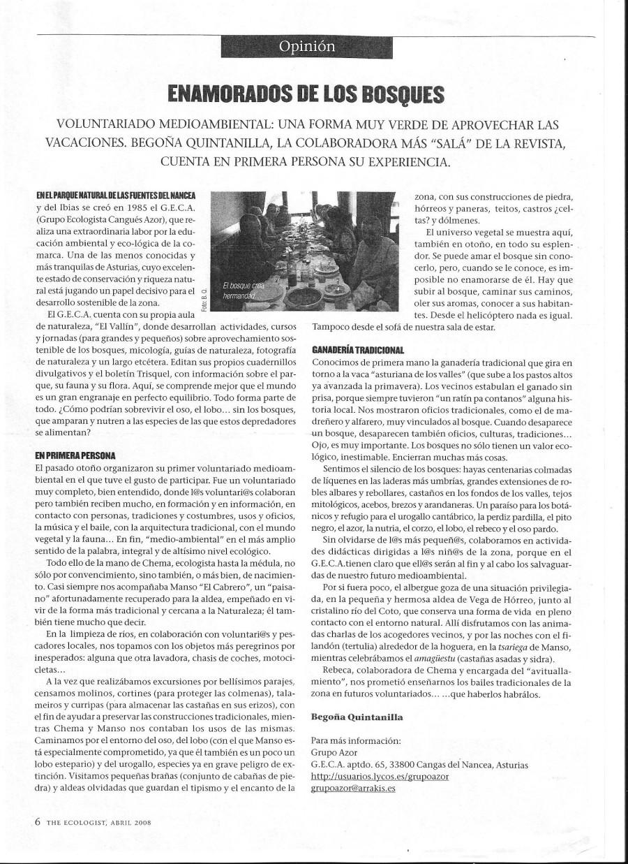 Artículo de Begoña Quintanilla en la revista The Ecologist de Abril-Mayo 2008.