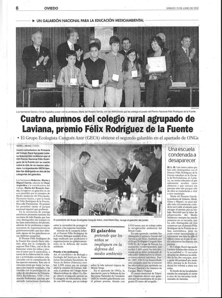 Premio Félix Rodríguez de la Fuente al GECA