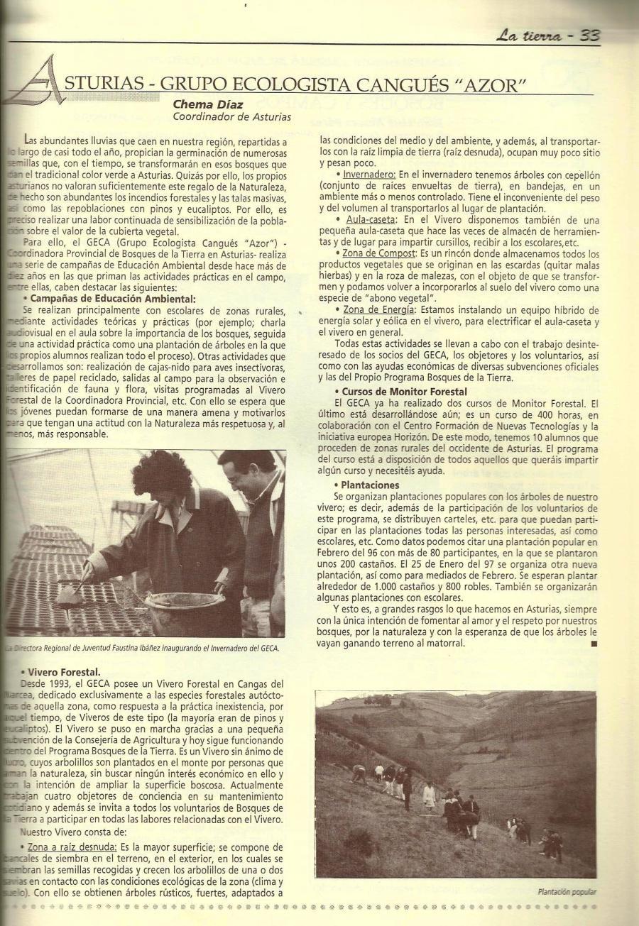 """Artículo sobre las actividades del GECA en la Revista """"Bosques de la Tierra"""""""